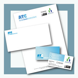 Across Town Constructions business card and stationery items
